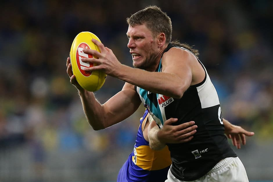 PERTH, AUSTRALIA - APRIL 19: Brad Ebert of the Power breaks from a tackle by Andrew Gaff of the Eagles during the round 5 AFL match between West Coast and Port Adelaide at Optus Stadium on April 19, 2019 in Perth, Australia. (Photo by Paul Kane/Getty Images)