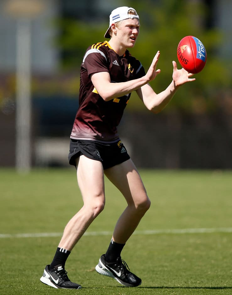 MELBOURNE, AUSTRALIA - DECEMBER 3: James Sicily of the Hawks in action during the Hawthorn Hawks training session at the Ricoh Centre, Melbourne on December 3, 2015. (Photo: Michael Willson/AFL Media)