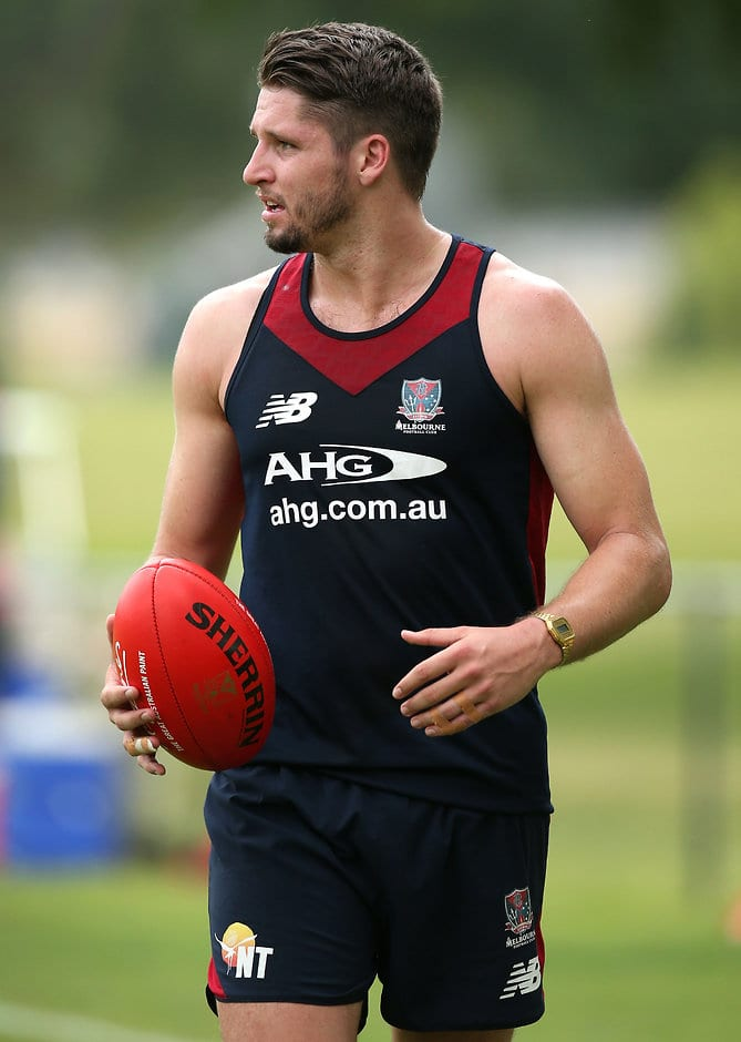 MELBOURNE, AUSTRALIA - NOVEMBER 20: Jesse Hogan of the Demons looks on during the Melbourne Demons training session at Gosch's Paddock, Melbourne on November 20, 2015. (Photo: Adam Trafford/AFL Media)