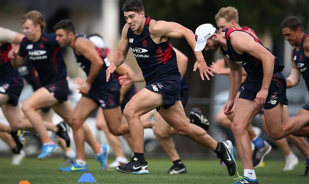 MELBOURNE, AUSTRALIA - NOVEMBER 30: Christian Petracca of the Demons runs sprints during the Melbourne Demons training session at Gosch's Paddock, Melbourne on November 30, 2015. (Photo: Adam Trafford/AFL Media)