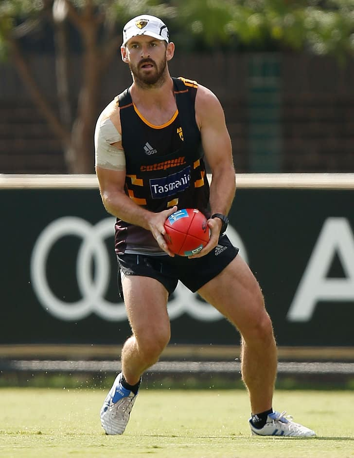 MELBOURNE, AUSTRALIA - JANUARY 13: Brendan Whitecross of the Hawks in action during the Hawthorn Hawks training session at the Ricoh Centre, Melbourne on January 13, 2016. (Photo: Michael Willson/AFL Media)
