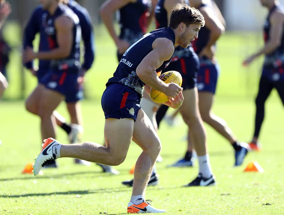 MELBOURNE, AUSTRALIA - MAY 04:  Jack Viney of the Demons runs with the ball during a Melbourne Demons AFL training session at Goschs Paddock on May 4, 2016 in Melbourne, Australia.  (Photo by Robert Cianflone/Getty Images/AFL Media)