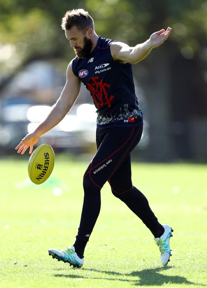 MELBOURNE, AUSTRALIA - MAY 04:  Lynden Dunn of the Demons controls the ball during a Melbourne Demons AFL training session at Goschs Paddock on May 4, 2016 in Melbourne, Australia.  (Photo by Robert Cianflone/Getty Images/AFL Media)