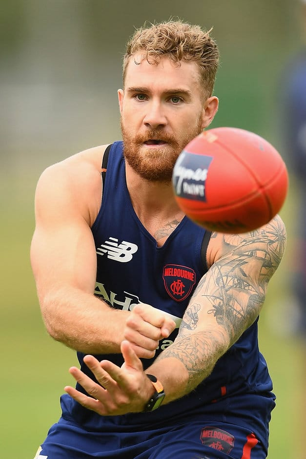 MELBOURNE, AUSTRALIA - NOVEMBER 07:  Dean Kent of the Demons handballs during a Melbourne Demons AFL pre-season training session at Gosch's Paddock on November 7, 2016 in Melbourne, Australia.  (Photo by Quinn Rooney/Getty Images/AFL Media)