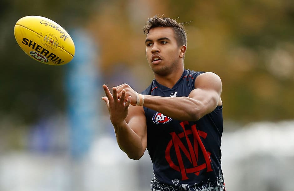 MELBOURNE, AUSTRALIA - MAY 11: Jay Kennedy-Harris of the Demons in action during the Melbourne Demons training session at Gosch's Paddock in Melbourne on May 11, 2016. (Photo by Michael Willson/AFL Media)