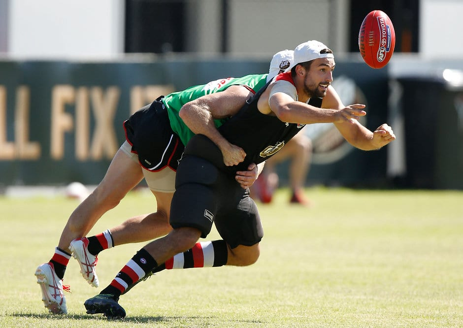 MELBOURNE, AUSTRALIA - FEBRUARY 5: Billy Longer of the Saints in action during the St Kilda Saints training session at the Linen House Centre in Melbourne on February 5, 2016. (Photo by Michael Willson/AFL Media)