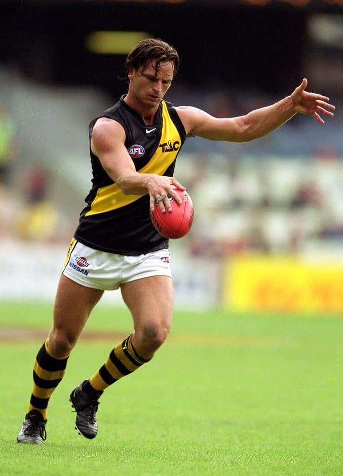 Nick Daffy of Richmond in action during the round one AFL match between the Melbourne Demons and the Richmond Tigers at the Melbourne Cricket Ground on April 1, 2001.