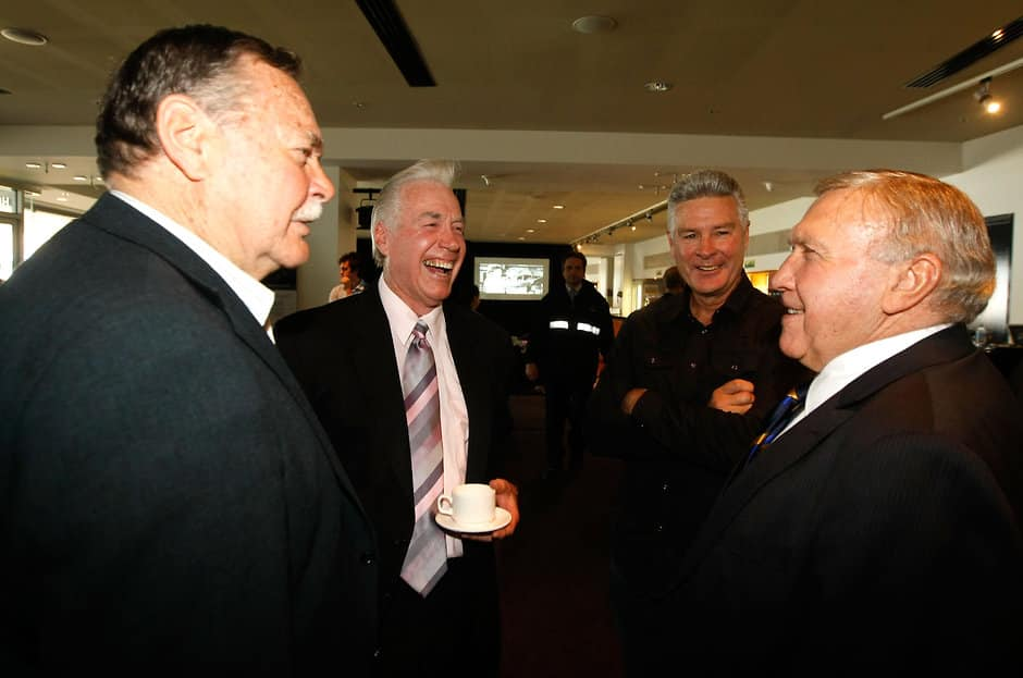 (L-R) Ron Barassi, Bill Barrot, Geoff Raines and Bob Skilton share a conversations during the 'KB - A Life in Football' book launch at the Melbourne Cricket Ground.