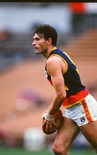 Tony Hall of the Crows lines up to kick during the 1994 round 14 AFL match between the St Kilda Saints and the Adelaide Crows.