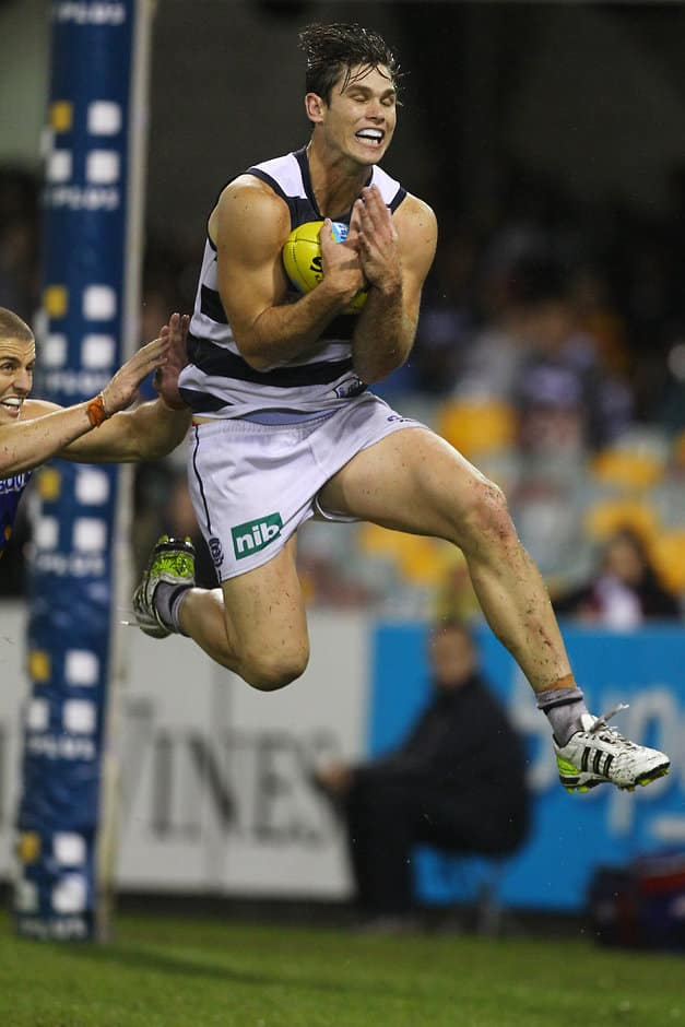 Tom Hawkins of Geelong marks during the AFL Round 05 match between the Brisbane Lions and the Geelong Cats at the Gabba, Brisbane. (Photo: Patrick Hamilton/AFL Media)