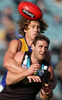 Jay Schulz handballs away against the Eagles' Matt Priddis