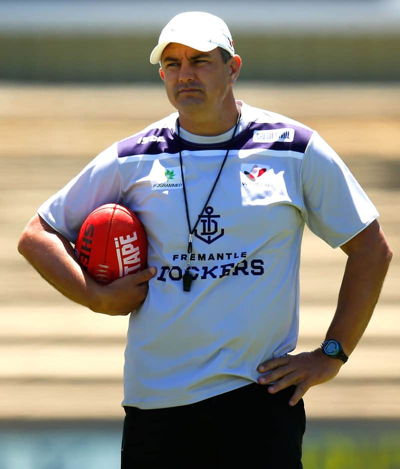 Peter Sumich watches Fremantle training in December - ${keywords}