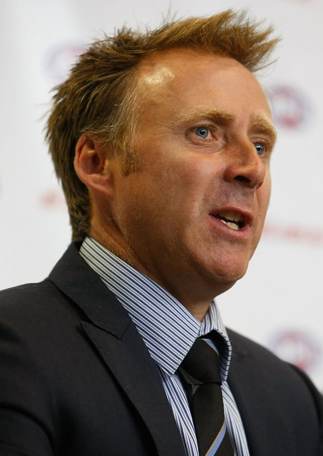 AFLPA CEO Matt Finnis addresses the media during an AFL football industry press conference at AFL House, Melbourne. (Photo: Michael Willson/AFL Media)