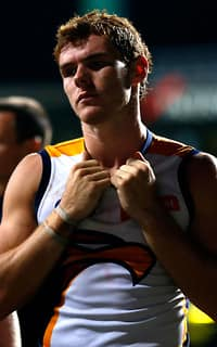 A dejected Luke Shuey leaves the ground on Saturday night