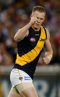 Jack Riewoldt hit the scoreboard early and often for the Tigers