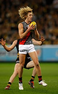 Dyson Heppell takes a mark during Essendon's win against Richmond