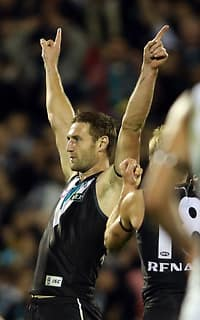 Jay Schulz finished with three goals in a famous Port Adelaide win over Collingwood