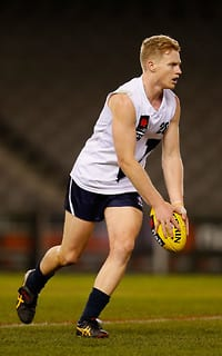 Nathan Drummond of Vic Country in action during the 2013 NAB AFL U18 Championship match between Vic Country and Vic Metro at Etihad Stadium on July 3, 2013. (Photo: Lachlan Cunningham/AFL Media)