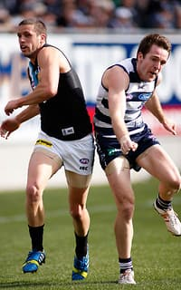 Travis Boak and Jesse Stringer collide on Saturday