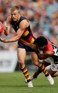 Nathan van Berlo has led the Adelaide Crows to a win in their final game at AAMI Stadium