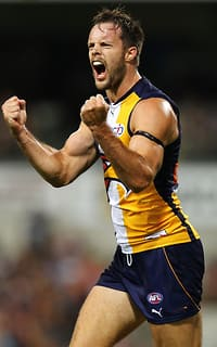 Mitch Brown celebrates a late goal against St Kilda