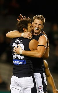 Jarrad Waite and Lachie Henderson celebrate a goal in the win over the Western Bulldogs