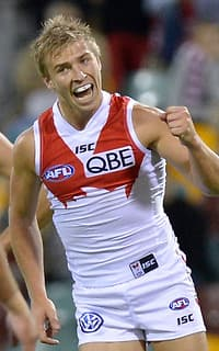 Kieran Jack was one of the Swans' best on Saturday night, kicking two goals
