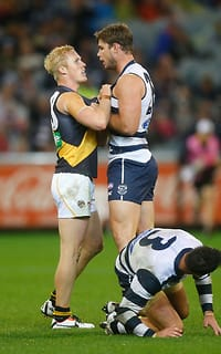 Steven Morris of the Tigers and Tom Hawkins of the Cats exchange words during the 2014 AFL round 07 match between the Geelong Cats and the Richmond Tigers at the MCG, Melbourne on May 04, 2014. (Photo: Lachlan Cunningham/AFL Media)