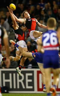 A high-flying Heath Hocking almost pulled in mark of the year