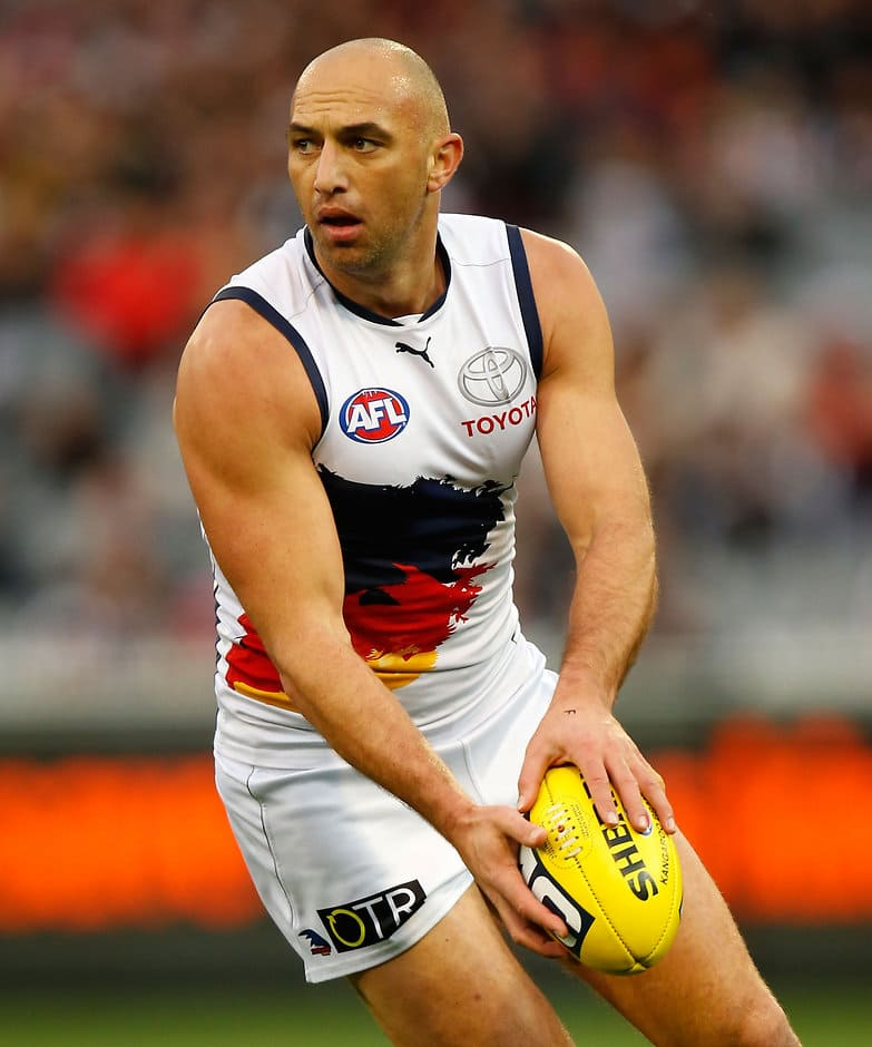 James Podsiadly of the Crows in action during the 2014 AFL Round 18 match between the Collingwood Magpies and the Adelaide Crows at the MCG, Melbourne on July 27, 2014. (Photo: Michael Willson/AFL Media)