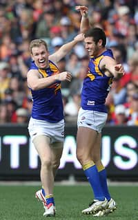 Xavier Ellis and Jack Darling celebrate a goal in Eagles' best win of the season