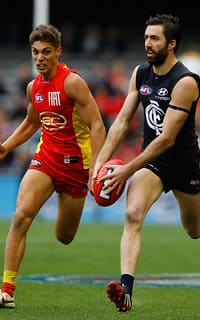 Kade Simpson was again superb in defence for Carlton as he left Sean Lemmens and the Suns in his wake