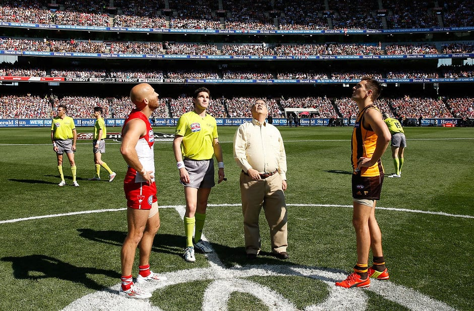 Jarrad McVeigh and Luke Hodge at the coin toss before the 2014 Grand Final - ${keywords}
