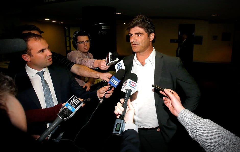 Adrian Dodoro of the Essendon Bombers addresses the media during the 2014 NAB AFL Exchange Period, at Etihad Stadium, Melbourne on October 06, 2014. (Photo: Justine Walker/AFL Media)