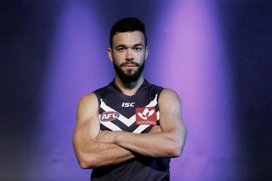 Ryan Crowley of the Dockers poses for a photo during the Fremantle Dockers Team Photo Day at Fremantle on January 20, 2015. (Photo: Sean Garnsworthy/AFL Media)