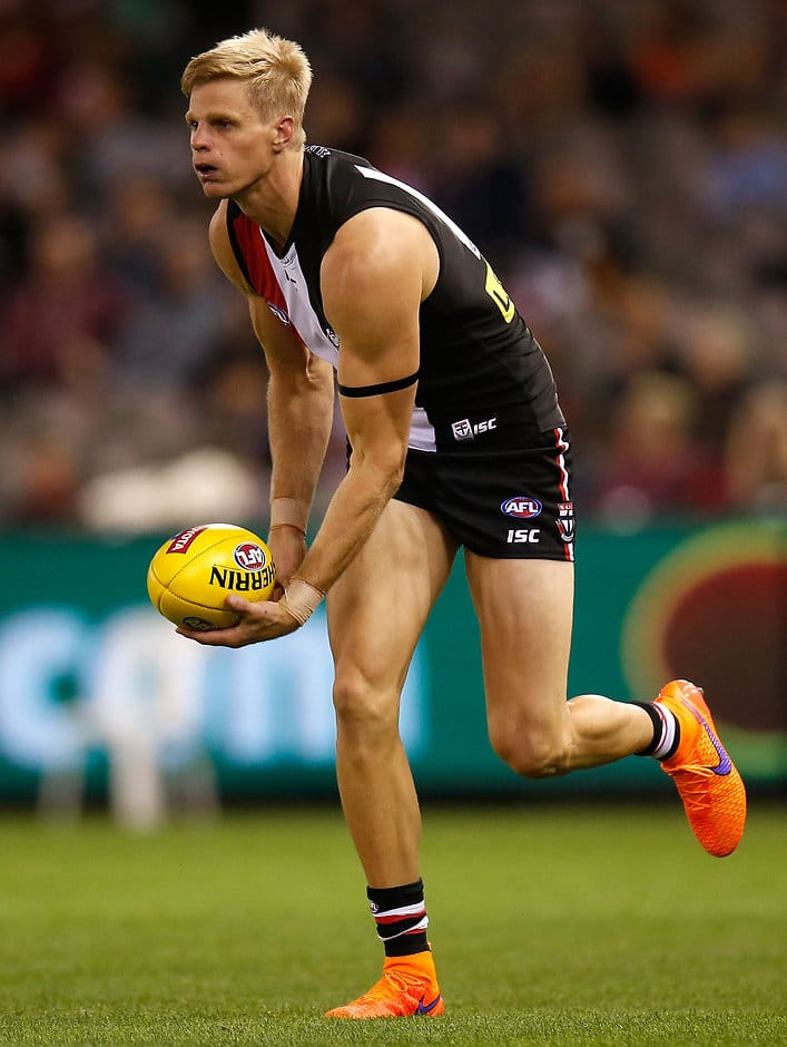 Nick Riewoldt of the Saints in action during the 2015 AFL Round 01 match between the St Kilda Saints and the GWS Giants at Etihad Stadium, Melbourne on April 04, 2015. (Photo: Michael Willson/AFL Media)