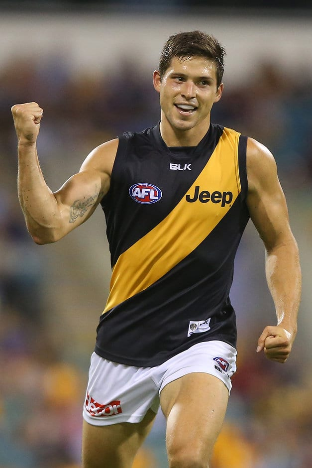 BRISBANE, AUSTRALIA - APRIL 18:  Chris Knights of the Tigers celebrates a goal during the round three AFL match between the Brisbane Lions and the Richmond Tigers at The Gabba on April 18, 2015 in Brisbane, Australia.  (Photo by Chris Hyde/Getty Images)