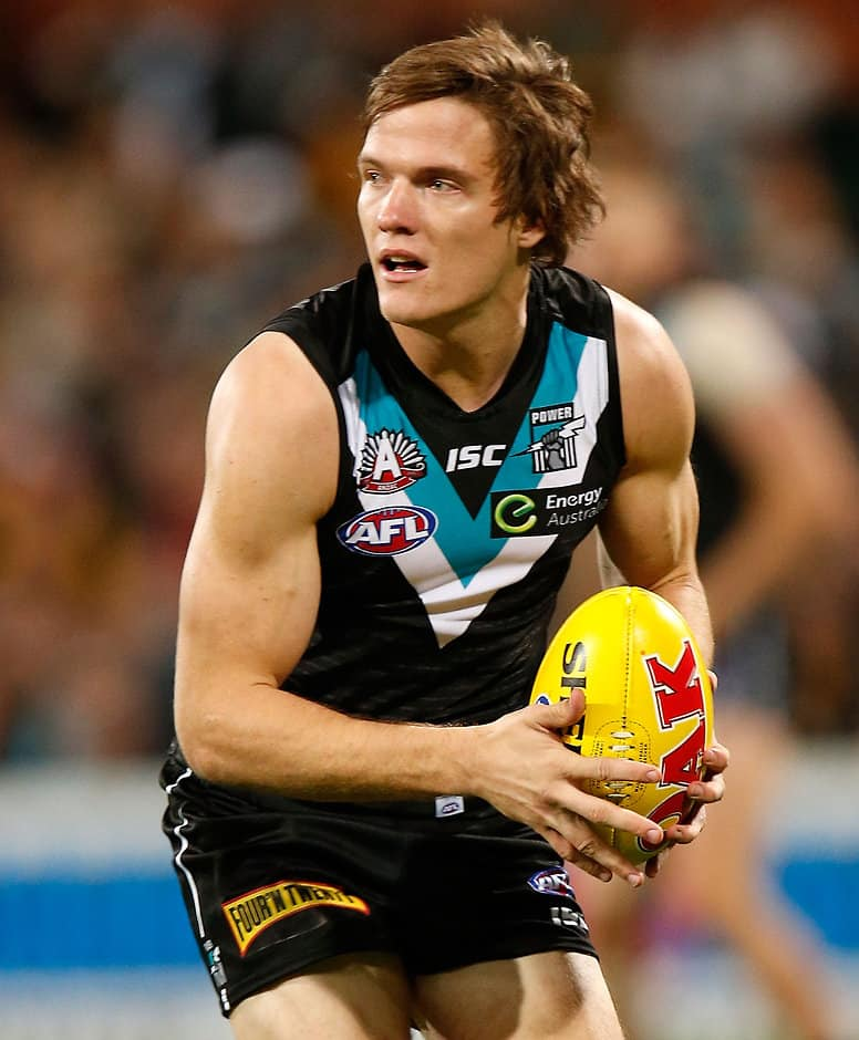 Jared Polec of the Power in action during the 2015 AFL Round 04 ANZAC Day match between Port Adelaide Power and the Hawthorn Hawks at Adelaide Oval, Adelaide on April 25, 2015. (Photo: Michael Willson/AFL Media)