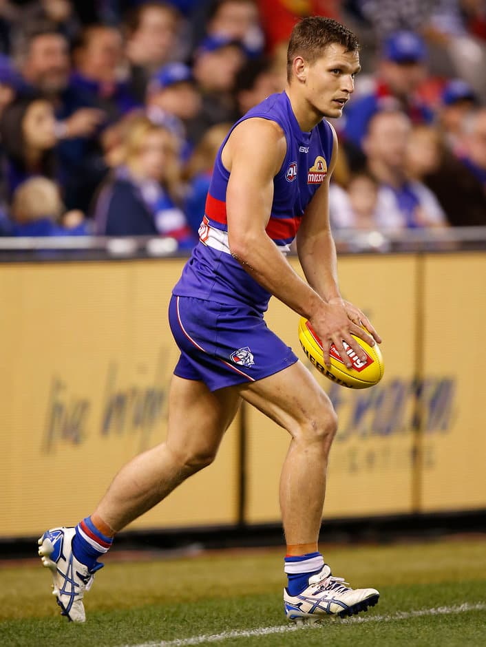 Clay Smith of the Bulldogs in action during the 2015 AFL Round 04 match between the Western Bulldogs and the Adelaide Crows at Etihad Stadium, Melbourne on April 26, 2015. (Photo: Michael Willson/AFL Media)