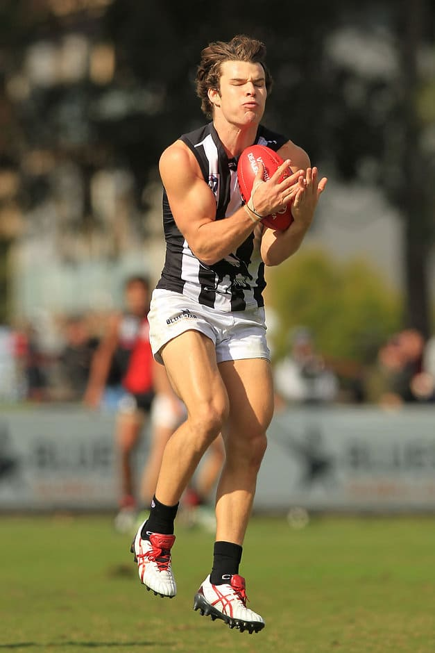 Nathan Freeman of the Collingwood Magpies in action during the 2015 VFL Round 2 match between the Essendon Bombers and Collingwood Magpies at Windy Hill, Melbourne on April  26, 2015. (Photo: Graham Denholm/AFL Media)