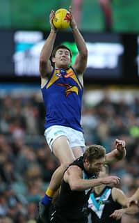 Jeremy McGovern soars high over Jay Schulz for a big mark