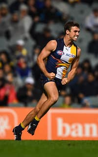 Jamie Cripps celebrates a goal against Gold Coast on Saturday night