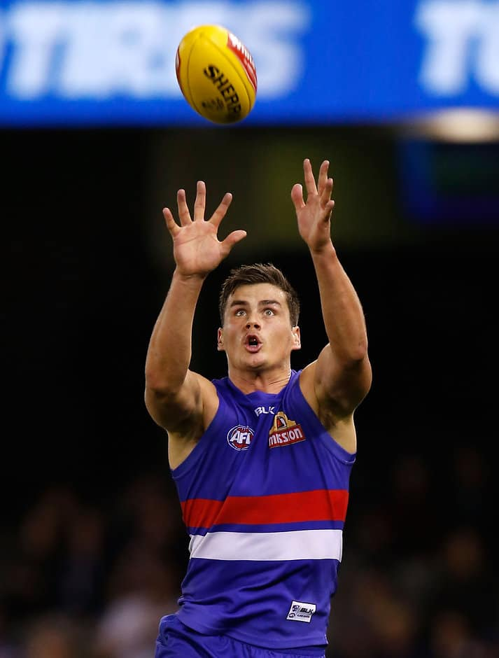 Tom Boyd of the Bulldogs marks the ball during the 2015 AFL Round 07 match between the Western Bulldogs and the Fremantle Dockers at Etihad Stadium on May 17, 2015. (Photo: Michael Willson/AFL Media)