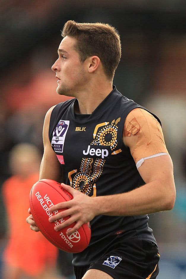 MELBOURNE, AUSTRALIA - MAY 30:  Jayden Short  of the Tigers in action during the round seven VFL match between the Richmond Tigers and the Essendon Bombers at Punt Road Oval on May 30, 2015 in Melbourne, Australia.  (Photo by Graham Denholm/AFL Media/Getty Images)