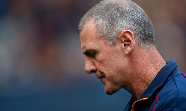 MELBOURNE, AUSTRALIA - JUNE 06: Phil Walsh, Senior Coach of the Crows looks on during the 2015 AFL round ten match between the Carlton Blues and the Adelaide Crows at the Melbourne Cricket Ground on June 6, 2015. (Photo by Michael Willson/AFL Media)