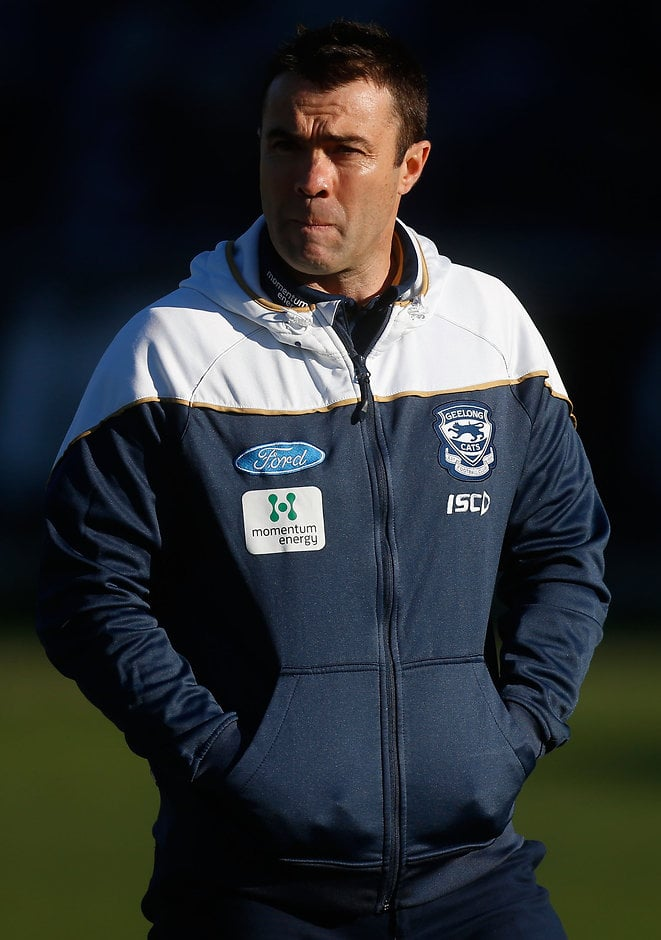 GEELONG, AUSTRALIA - JUNE 21: Chris Scott, Senior Coach of the Cats looks on during the 2015 AFL round twelve match between the Geelong Cats and the Melbourne Demons at Simonds Stadium, Geelong on June 21, 2015. (Photo by Adam Trafford/AFL Media)