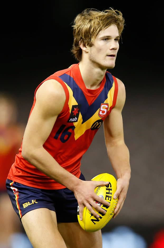 MELBOURNE, AUSTRALIA - JULY 1: Jonty Scharenberg of South Australia in action during the 2015 AFL Under 18 match between Vic Metro and South Australia at Etihad Stadium, Melbourne, Australia on July 1, 2015. (Photo by Adam Trafford/AFL Media)