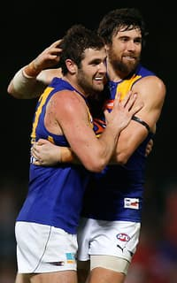 Five-goal hero Jack Darling celebrates a goal with fellow forward Josh Kennedy