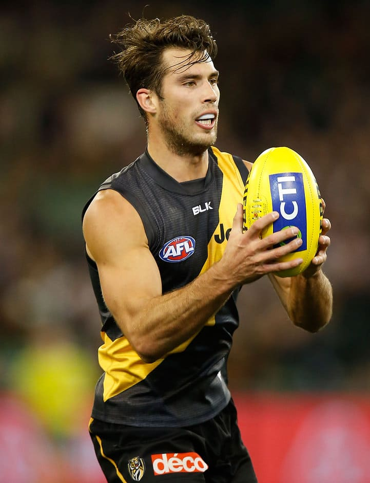 MELBOURNE, AUSTRALIA - JULY 10: Alex Rance of the Tigers in action during the 2015 AFL round 15 match between the Richmond Tigers and the Carlton Blues at the Melbourne Cricket Ground, Melbourne, Australia on July 10, 2015. (Photo by Michael Willson/AFL Media)