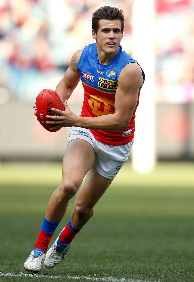 MELBOURNE, AUSTRALIA - JULY 19: Jed Adcock of the Lions in action during the 2015 AFL round 16 match between the Melbourne Demons and the Brisbane Lions at the Melbourne Cricket Ground, Melbourne, Australia on July 19, 2015. (Photo by Adam Trafford/AFL Media)